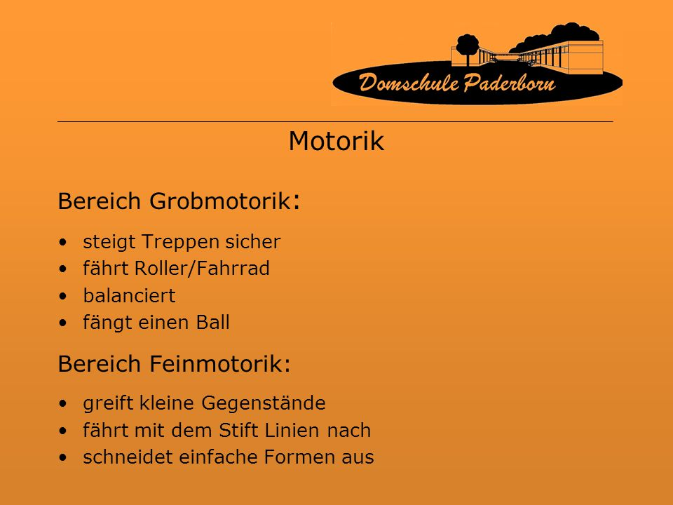 Motorik Bereich Grobmotorik: Bereich Feinmotorik: