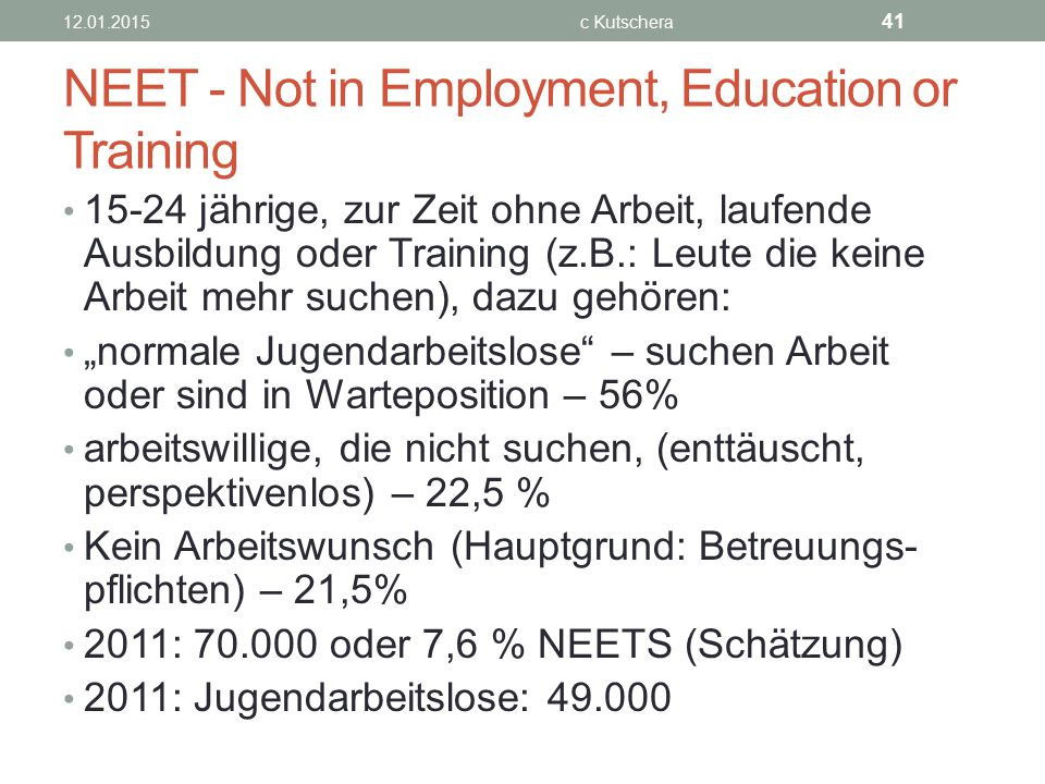 NEET - Not in Employment, Education or Training