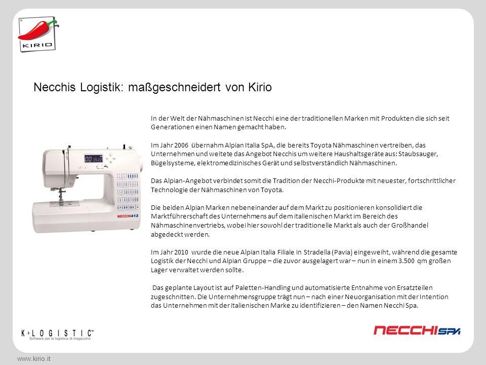 Necchis Logistik: maßgeschneidert von Kirio