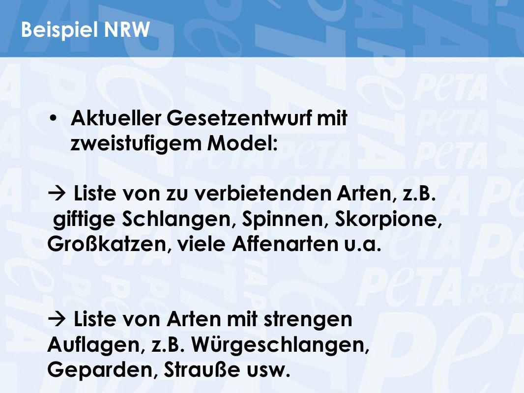 Beispiel NRW Aktueller Gesetzentwurf mit zweistufigem Model:  Liste von zu verbietenden Arten, z.B.