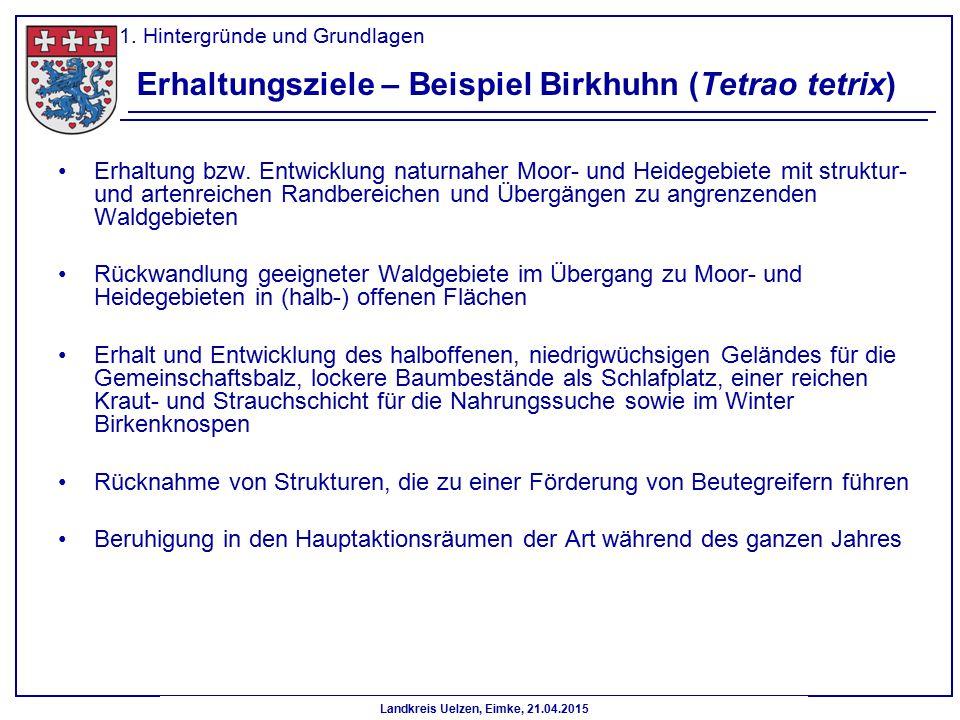 Erhaltungsziele – Beispiel Birkhuhn (Tetrao tetrix)