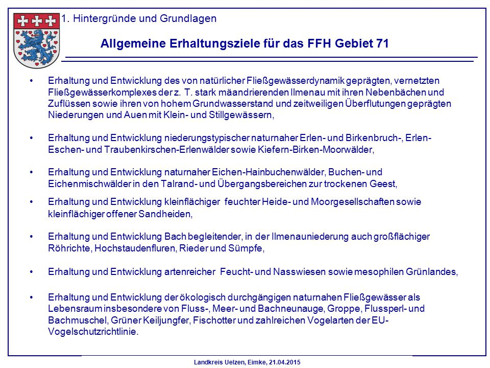 Allgemeine Erhaltungsziele für das FFH Gebiet 71