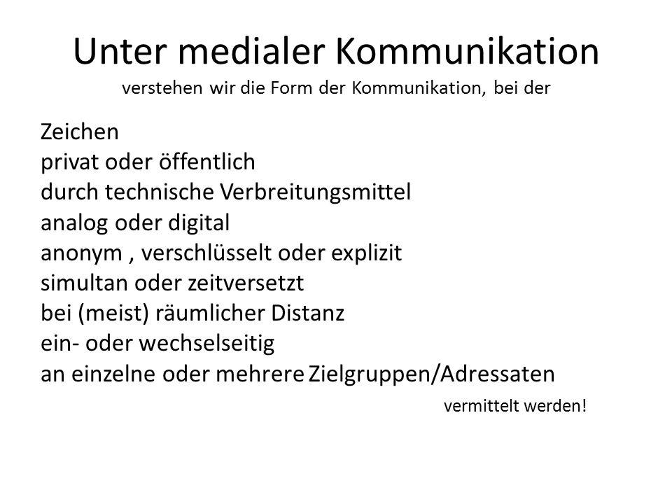 Unter medialer Kommunikation verstehen wir die Form der Kommunikation, bei der