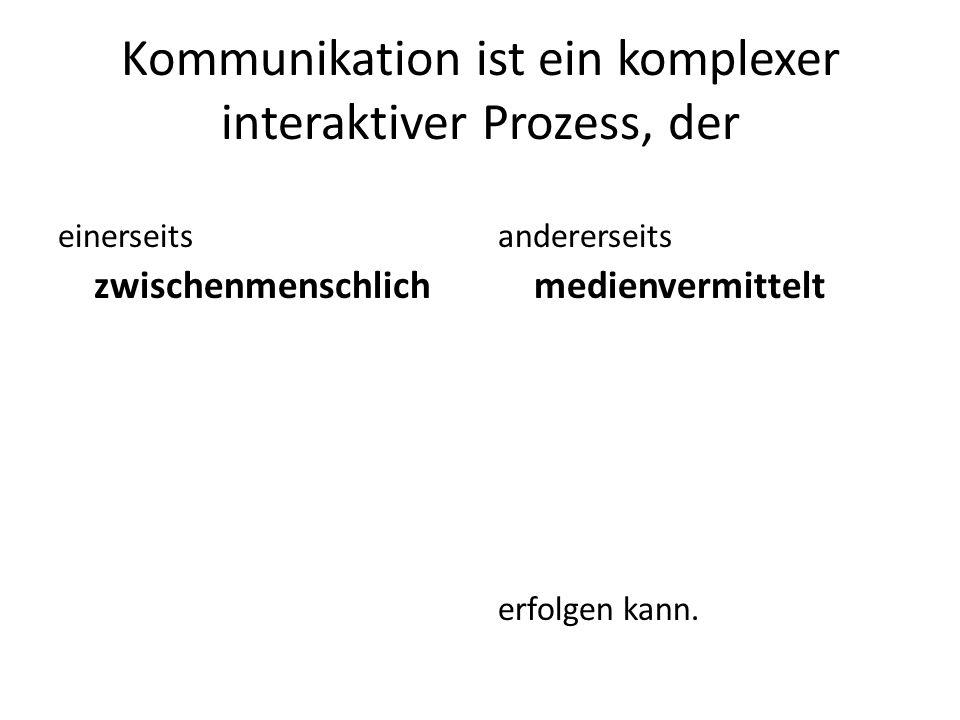 Kommunikation ist ein komplexer interaktiver Prozess, der