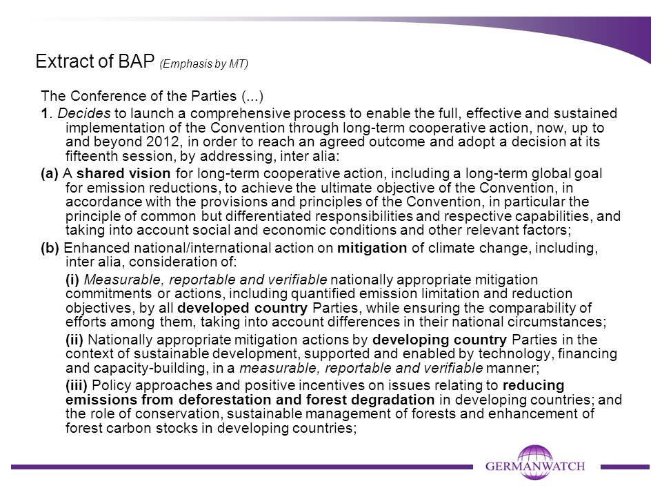 Extract of BAP (Emphasis by MT)