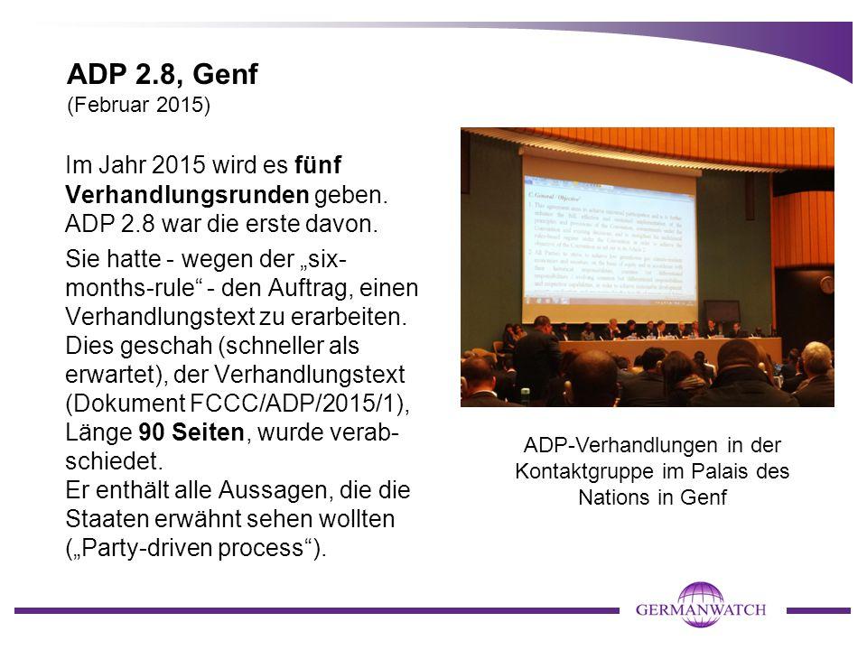 ADP-Verhandlungen in der Kontaktgruppe im Palais des Nations in Genf