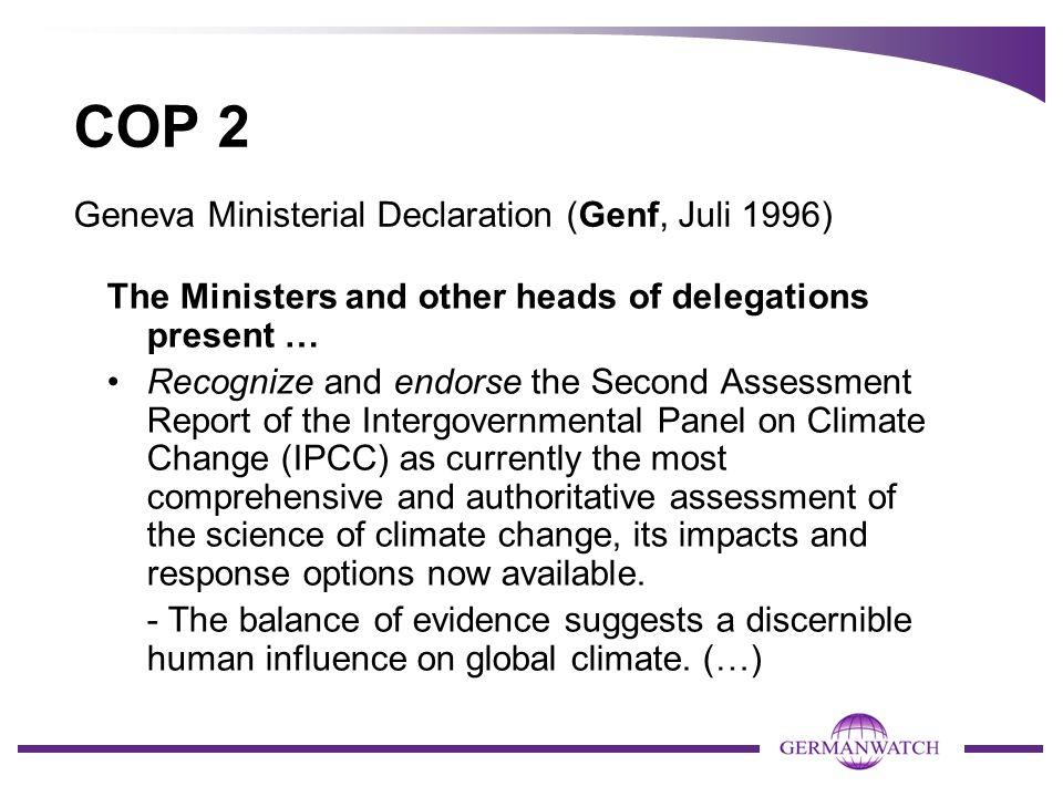 COP 2 Geneva Ministerial Declaration (Genf, Juli 1996)
