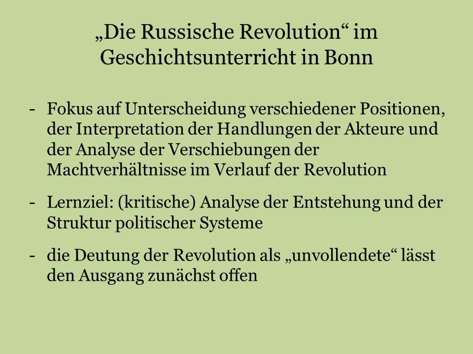 """""""Die Russische Revolution im Geschichtsunterricht in Bonn"""