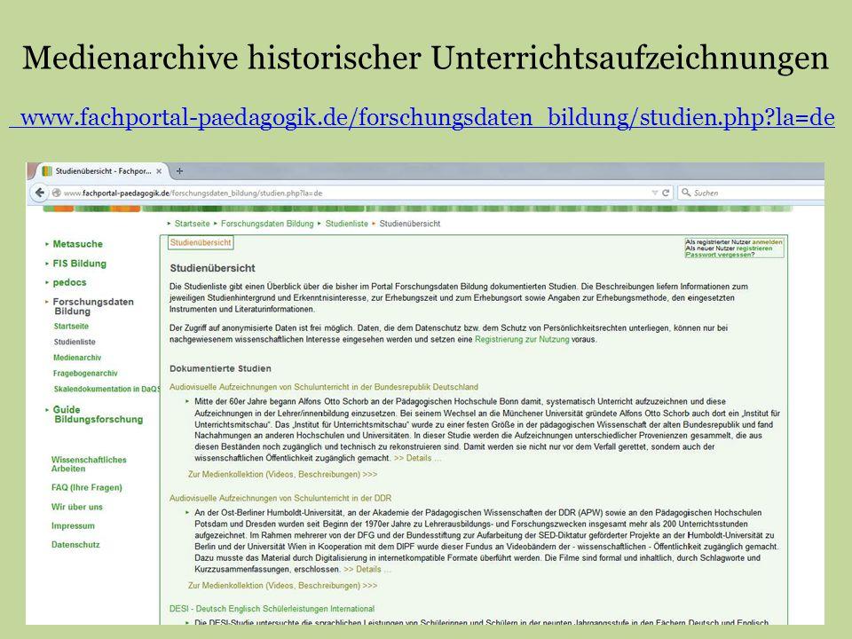Medienarchive historischer Unterrichtsaufzeichnungen