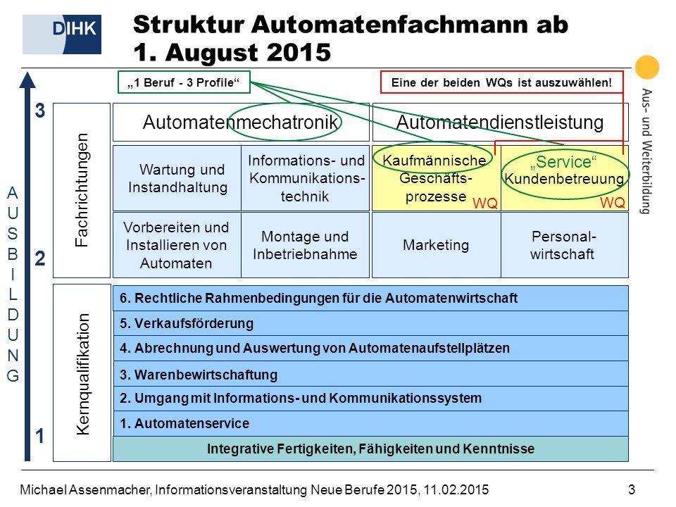Struktur Automatenfachmann ab 1. August 2015