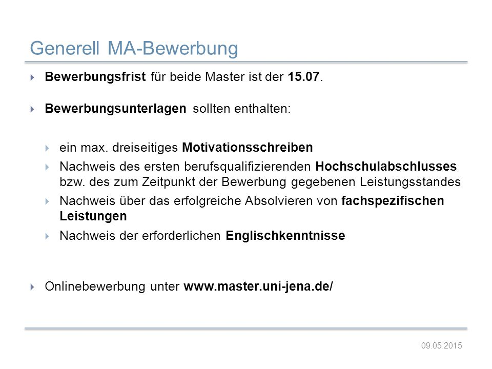 Generell MA-Bewerbung