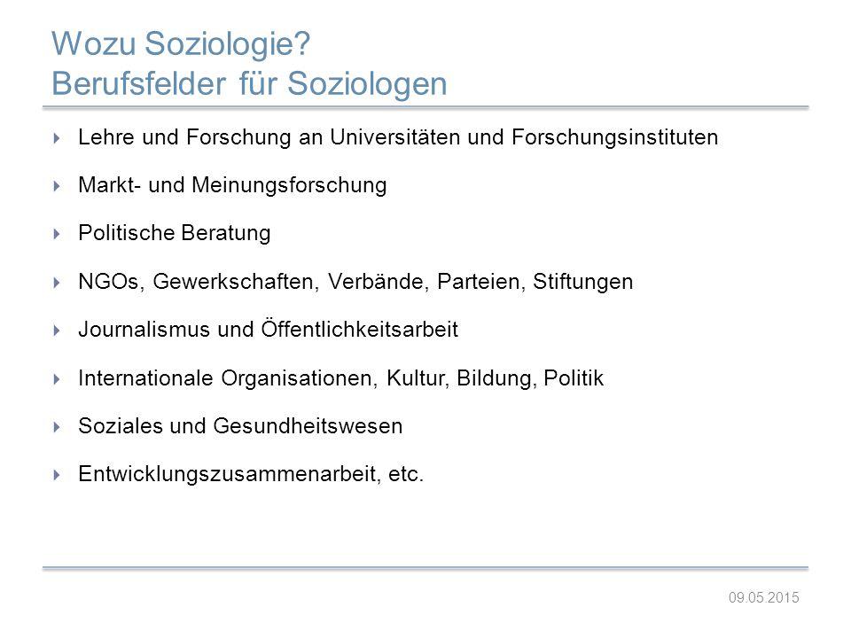 Wozu Soziologie Berufsfelder für Soziologen
