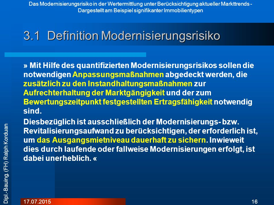 3.1 Definition Modernisierungsrisiko