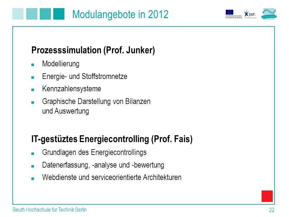 Modulangebote in 2012 Prozesssimulation (Prof. Junker)