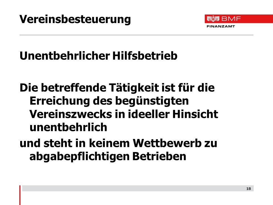 Vereinsbesteuerung Unentbehrlicher Hilfsbetrieb.