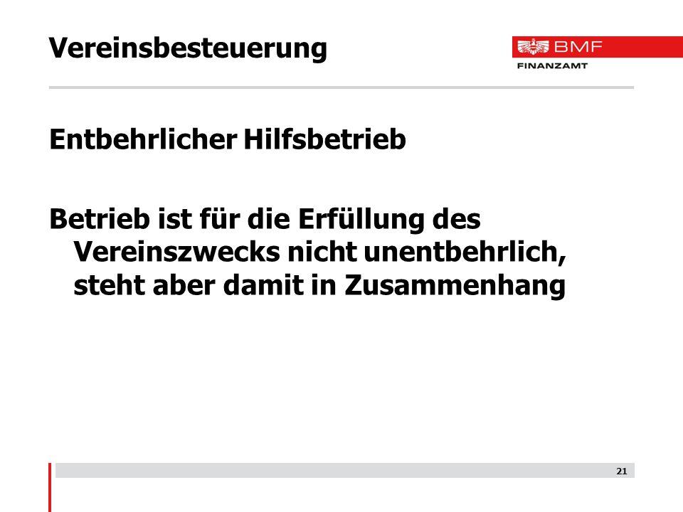 Vereinsbesteuerung Entbehrlicher Hilfsbetrieb.