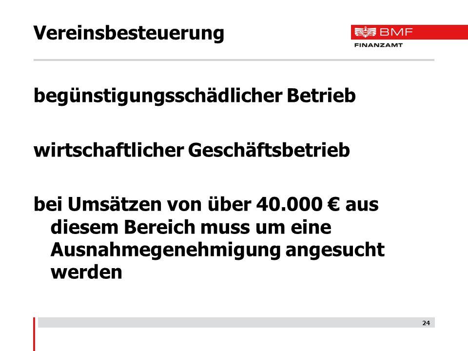 Vereinsbesteuerung begünstigungsschädlicher Betrieb. wirtschaftlicher Geschäftsbetrieb.