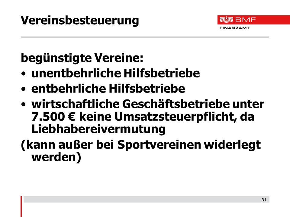 Vereinsbesteuerung begünstigte Vereine: unentbehrliche Hilfsbetriebe. entbehrliche Hilfsbetriebe.