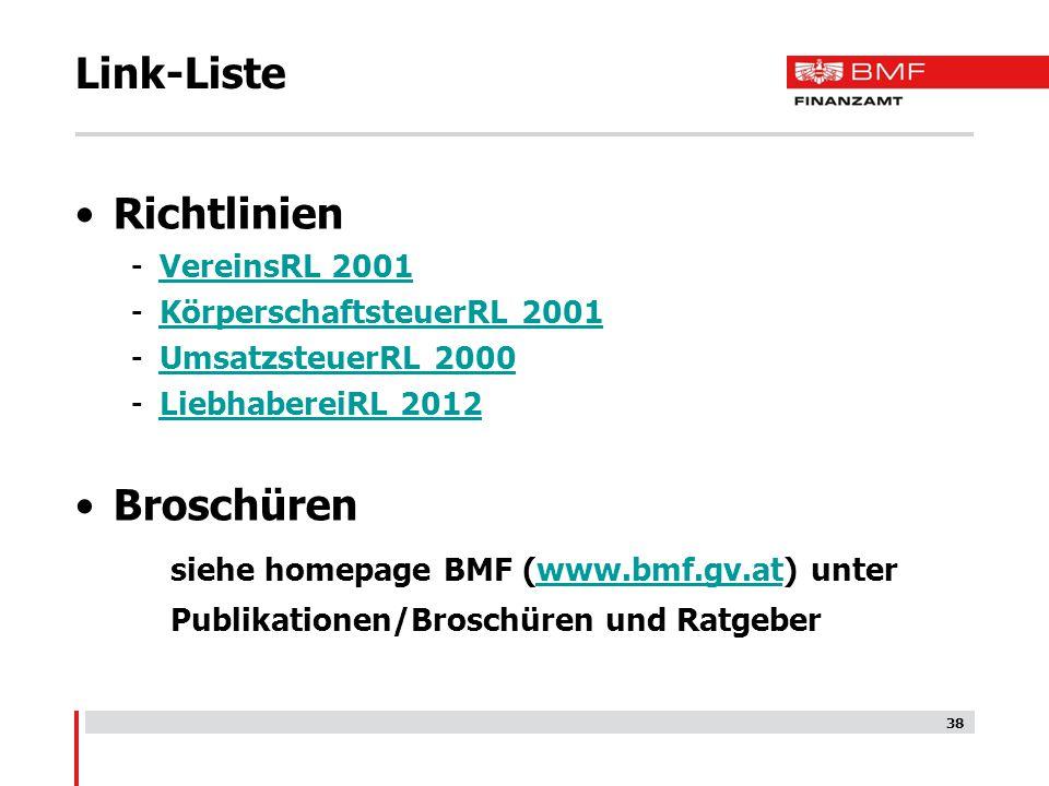 Link-Liste Richtlinien Broschüren