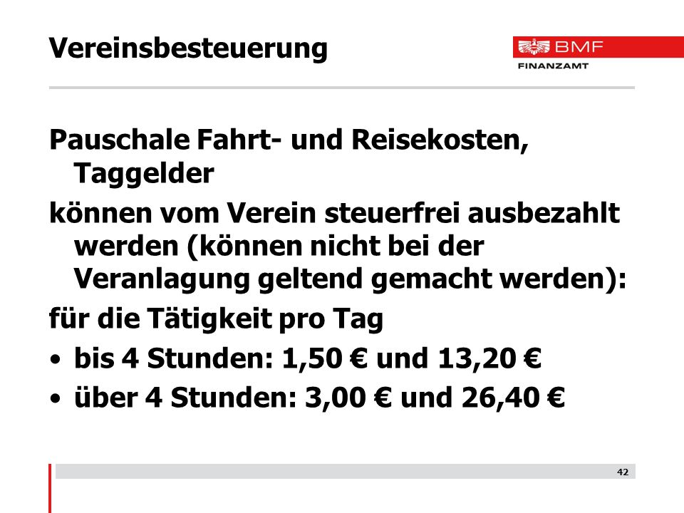 Vereinsbesteuerung Pauschale Fahrt- und Reisekosten, Taggelder.