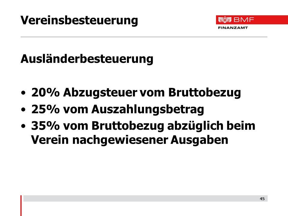 Vereinsbesteuerung Ausländerbesteuerung. 20% Abzugsteuer vom Bruttobezug. 25% vom Auszahlungsbetrag.
