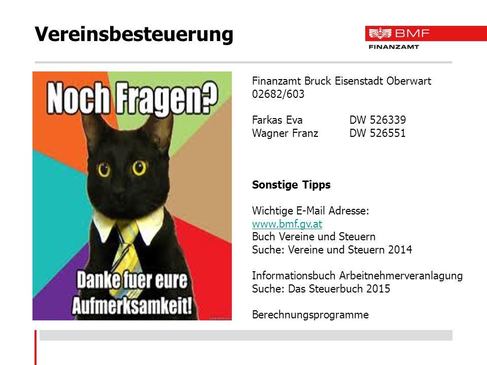 Vereinsbesteuerung Finanzamt Bruck Eisenstadt Oberwart 02682/603