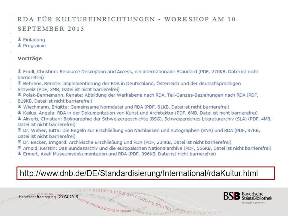 http://www.dnb.de/DE/Standardisierung/International/rdaKultur.html Handschriftentagung | 23.04.2015