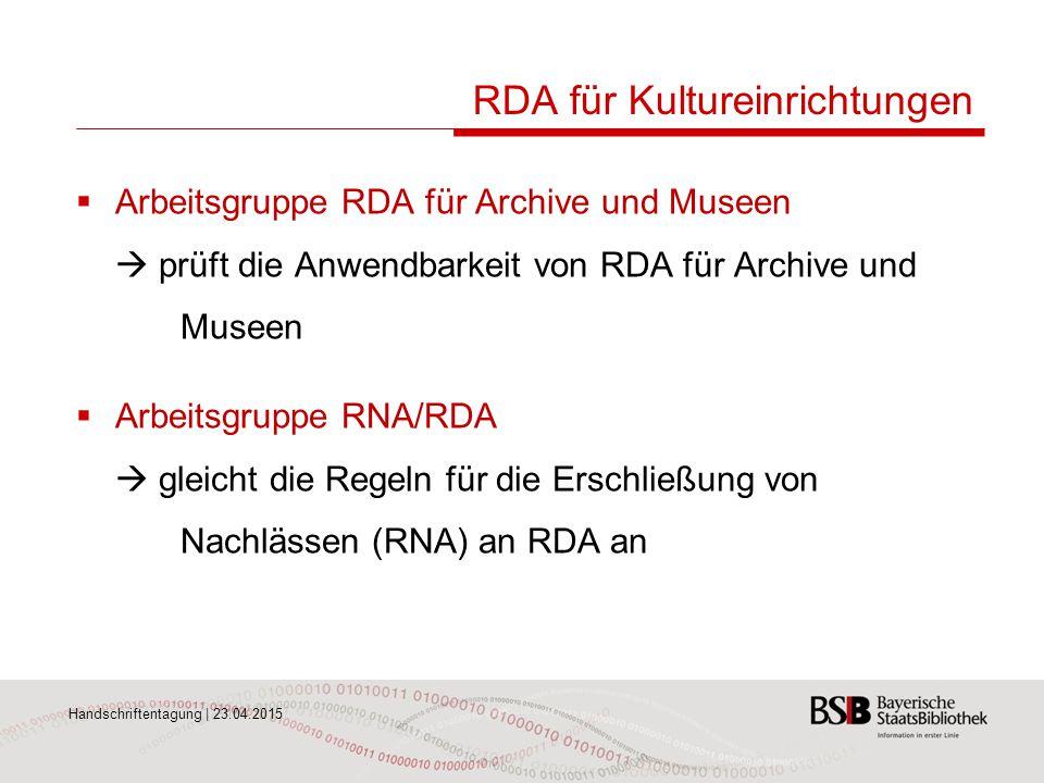 RDA für Kultureinrichtungen
