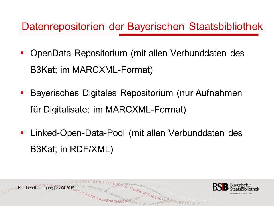 Datenrepositorien der Bayerischen Staatsbibliothek