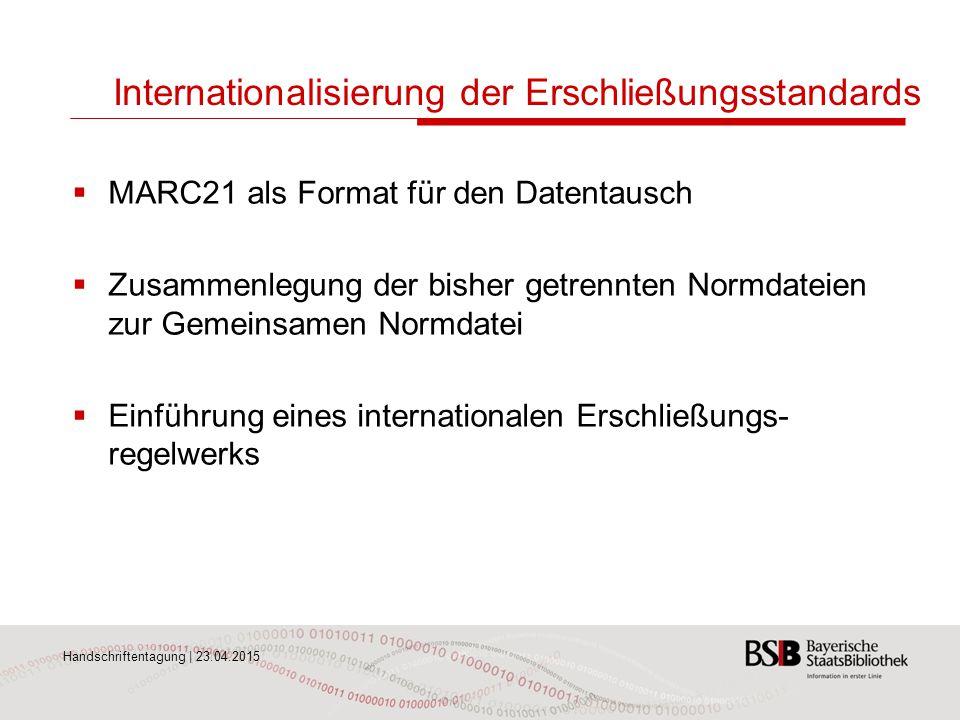 Internationalisierung der Erschließungsstandards