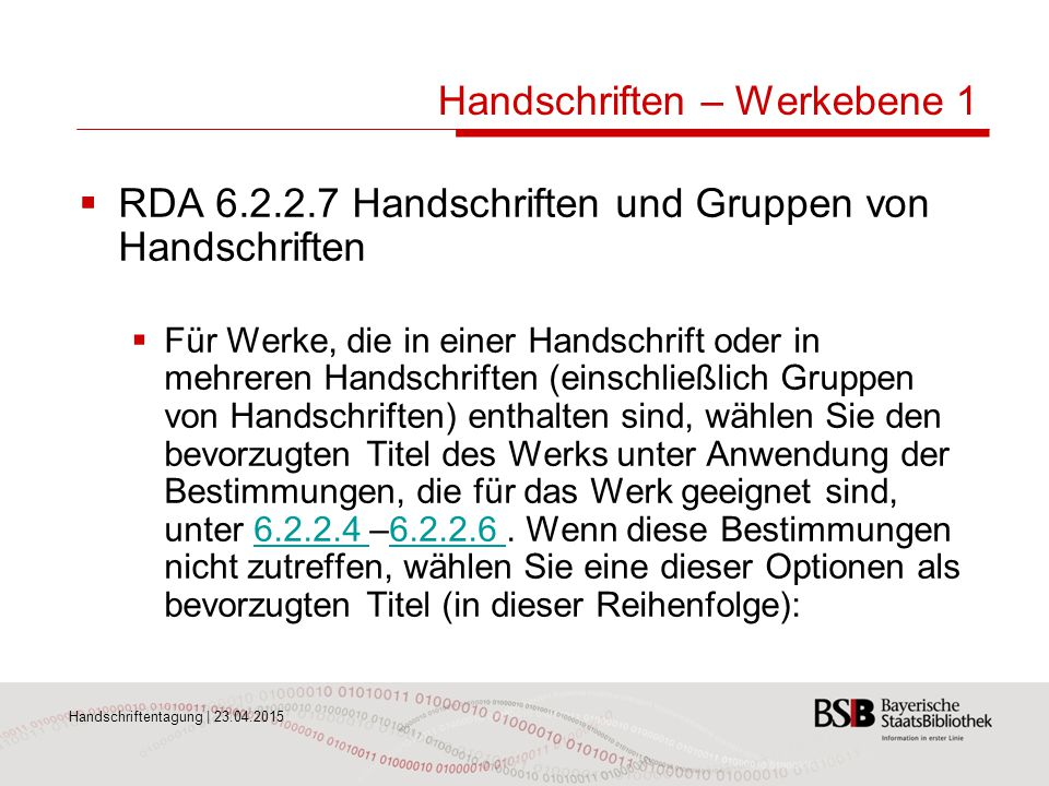 Handschriften – Werkebene 1