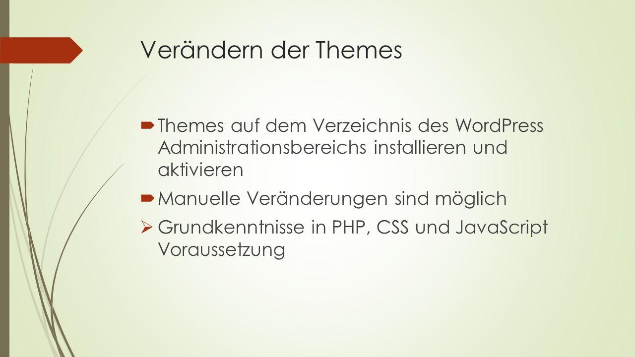 Verändern der Themes Themes auf dem Verzeichnis des WordPress Administrationsbereichs installieren und aktivieren.