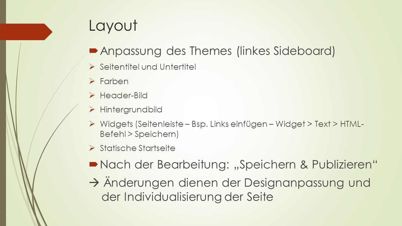 Layout Anpassung des Themes (linkes Sideboard)
