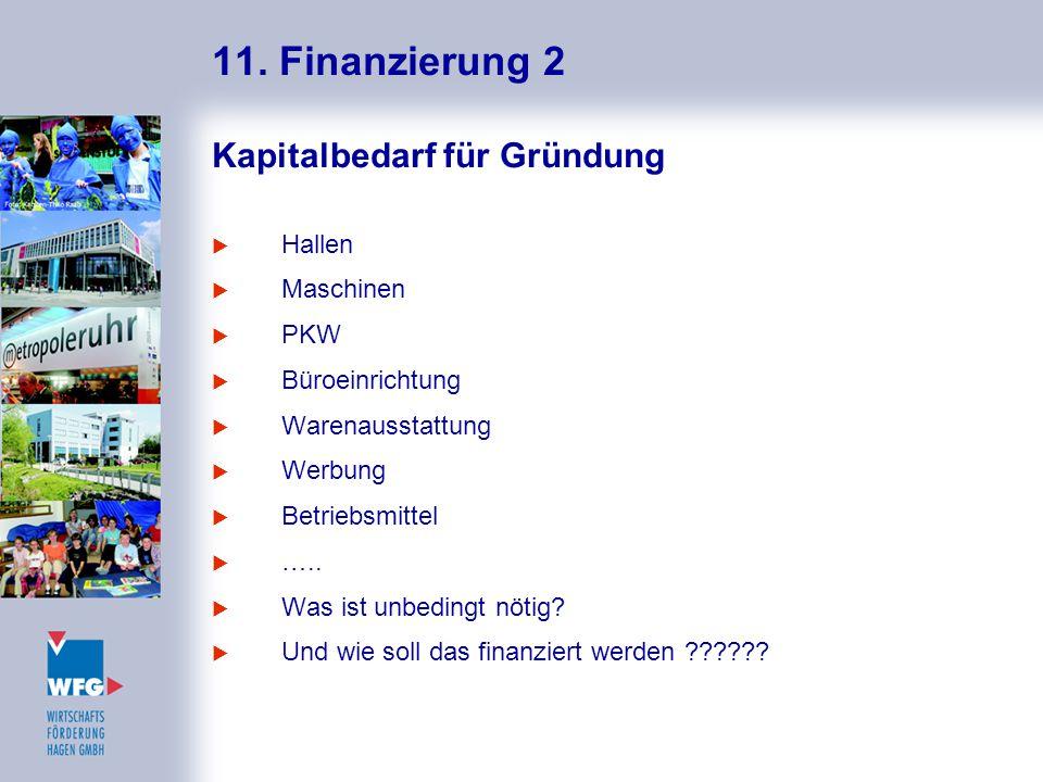 11. Finanzierung 2 Kapitalbedarf für Gründung Hallen Maschinen PKW
