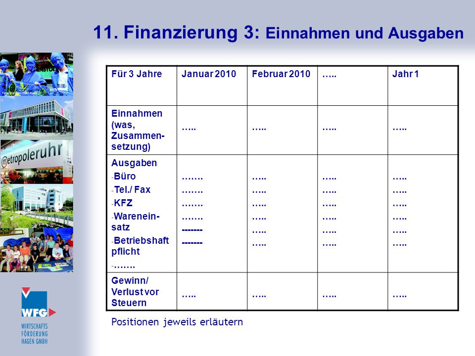 11. Finanzierung 3: Einnahmen und Ausgaben