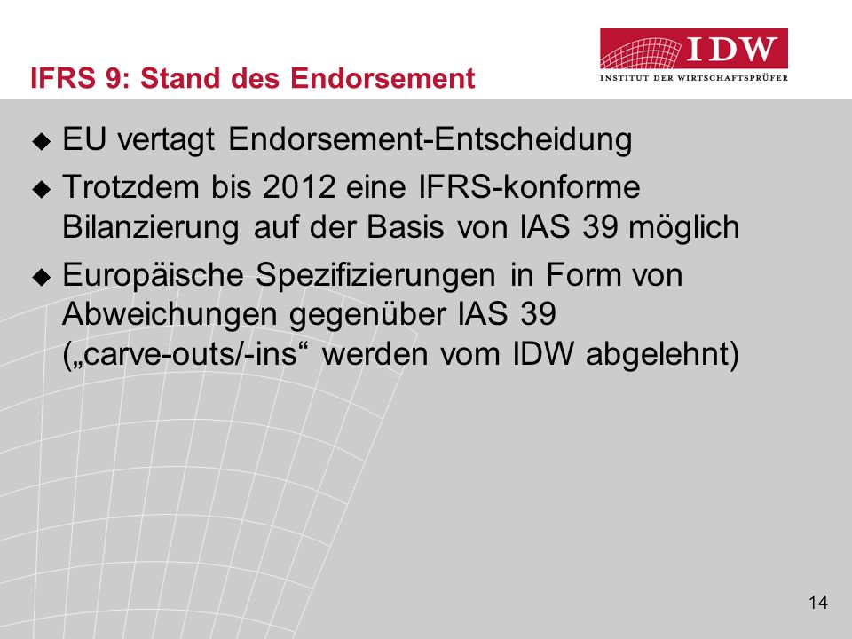 IFRS 9: Stand des Endorsement