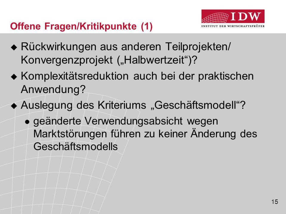 Offene Fragen/Kritikpunkte (1)