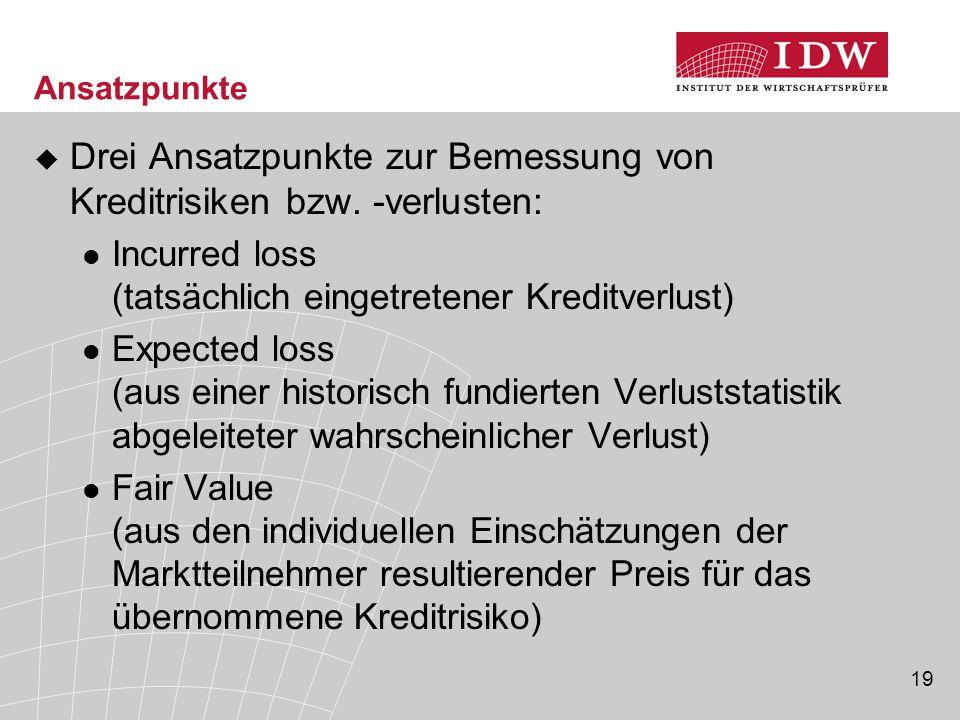 Drei Ansatzpunkte zur Bemessung von Kreditrisiken bzw. -verlusten: