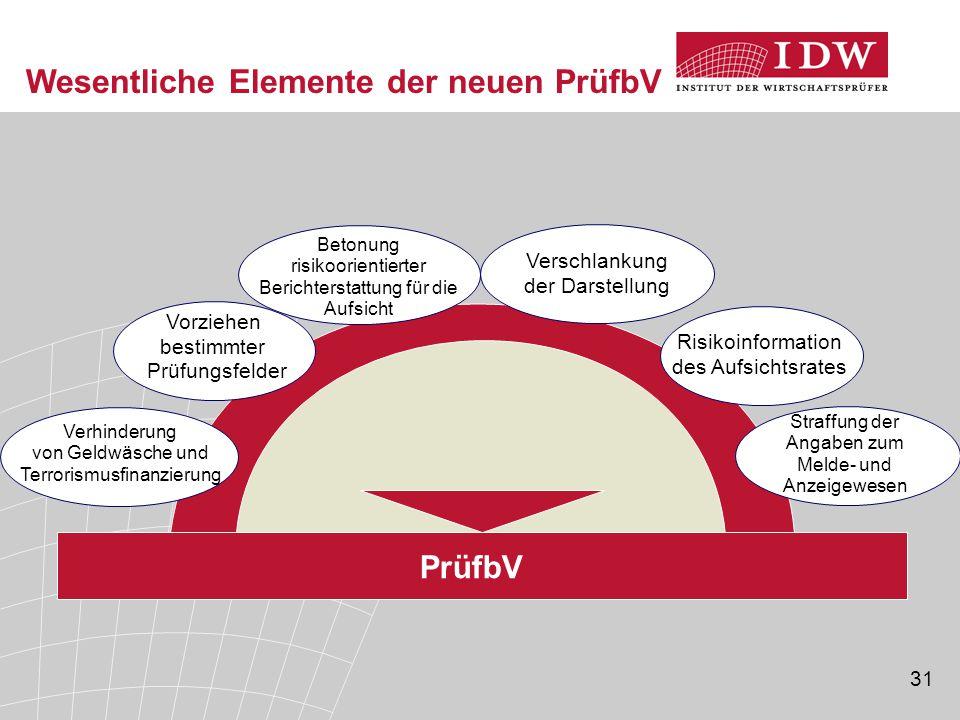 Wesentliche Elemente der neuen PrüfbV