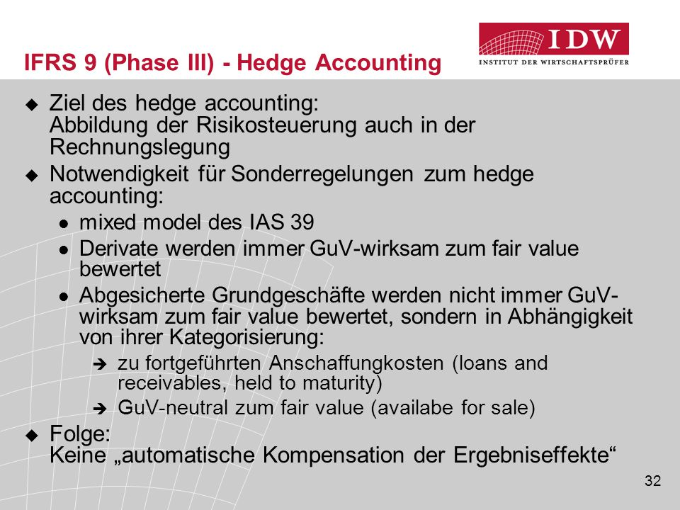 IFRS 9 (Phase III) - Hedge Accounting