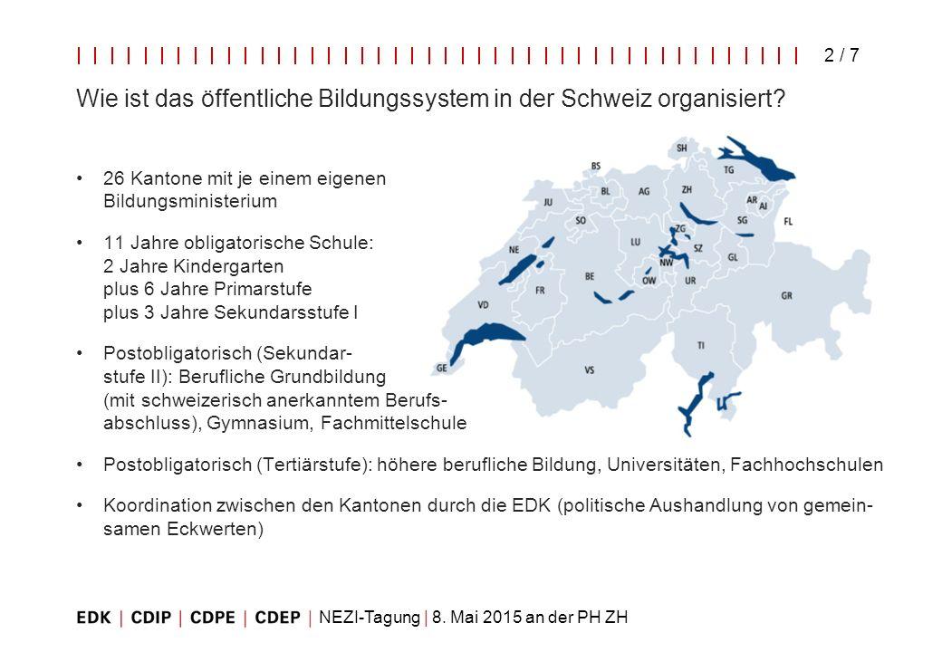 Wie ist das öffentliche Bildungssystem in der Schweiz organisiert
