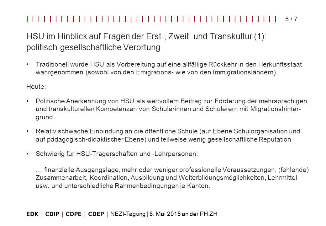 HSU im Hinblick auf Fragen der Erst-, Zweit- und Transkultur (1): politisch-gesellschaftliche Verortung