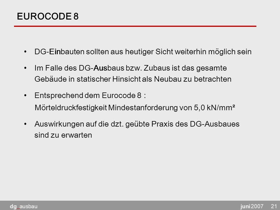 EUROCODE 8 DG-Einbauten sollten aus heutiger Sicht weiterhin möglich sein.