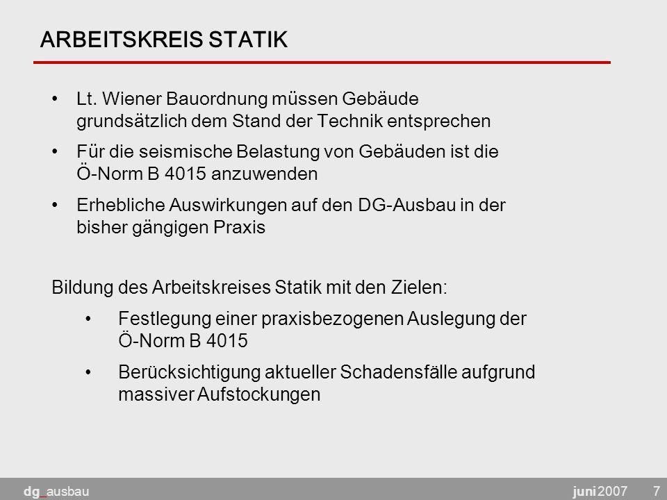 ARBEITSKREIS STATIK Lt. Wiener Bauordnung müssen Gebäude grundsätzlich dem Stand der Technik entsprechen.