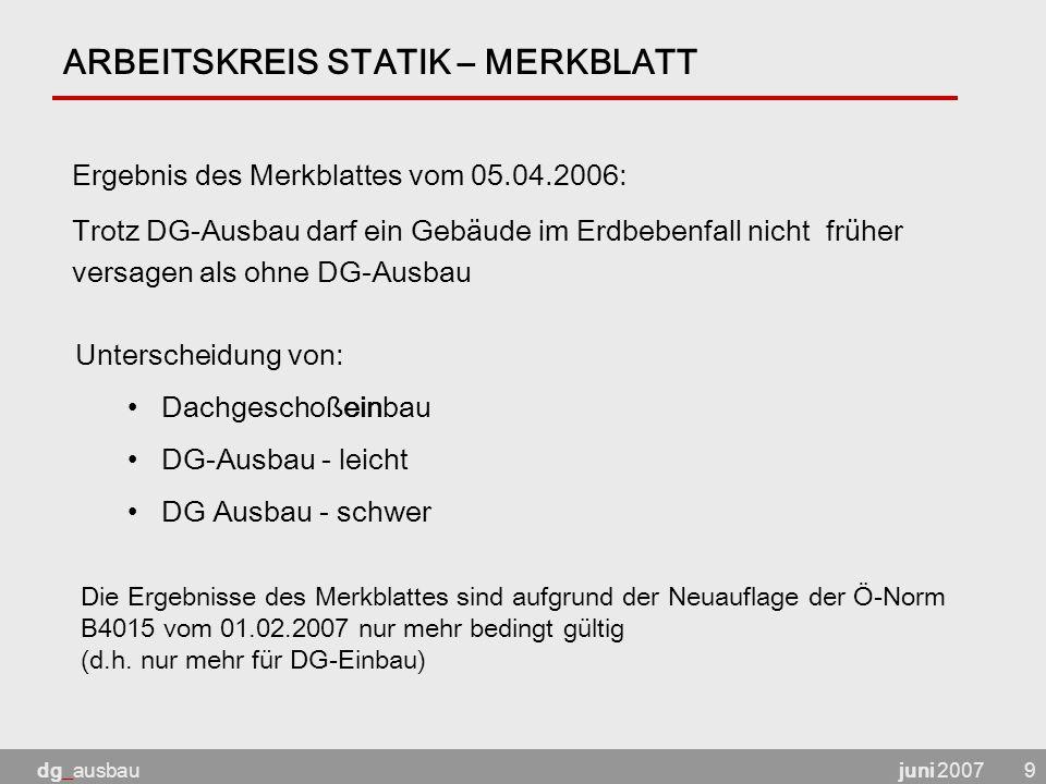 ARBEITSKREIS STATIK – MERKBLATT