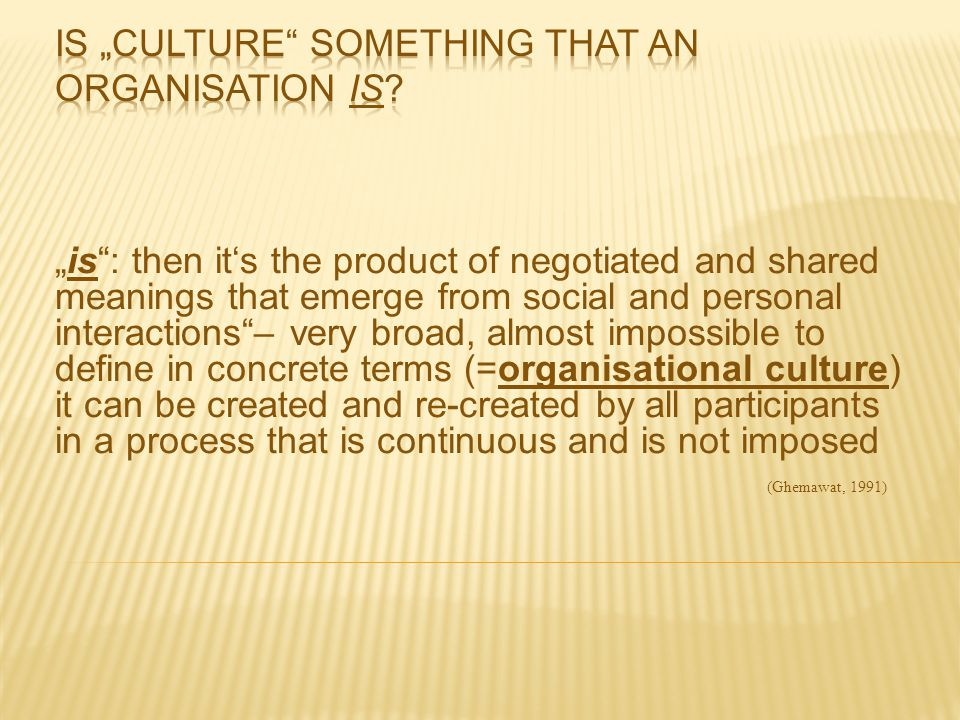"Is ""culture something that an organisation IS"