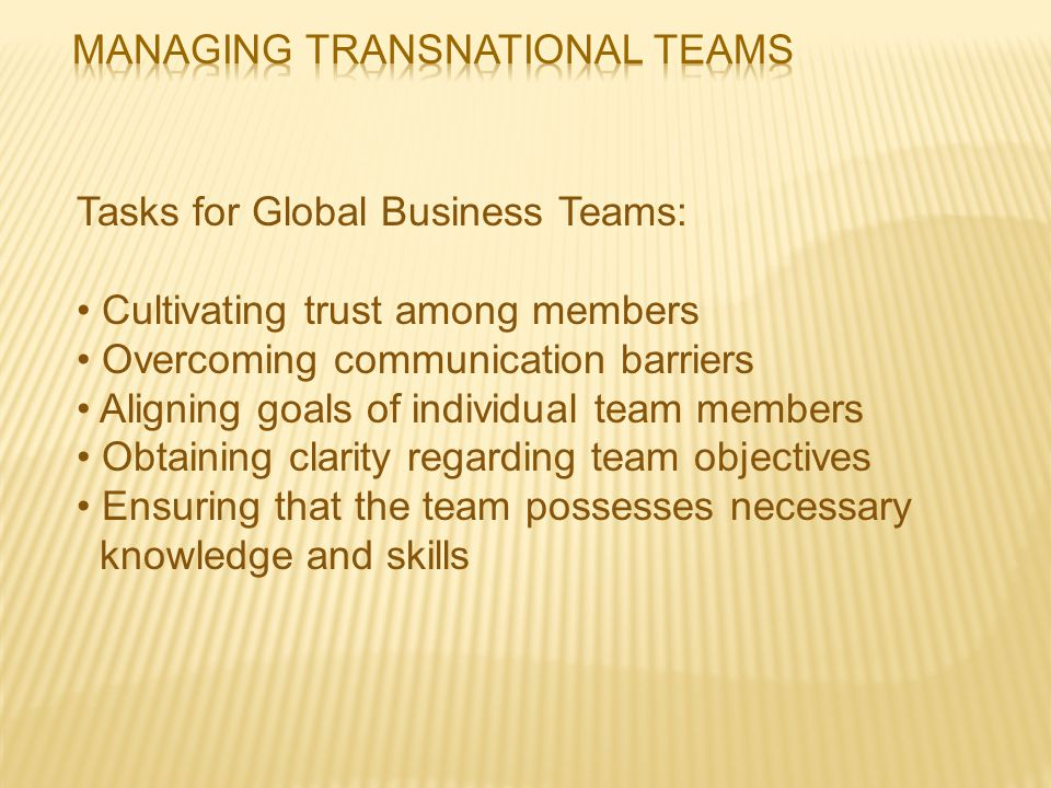 Managing Transnational Teams