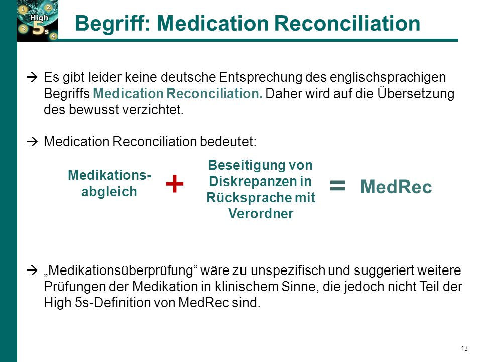 Begriff: Medication Reconciliation