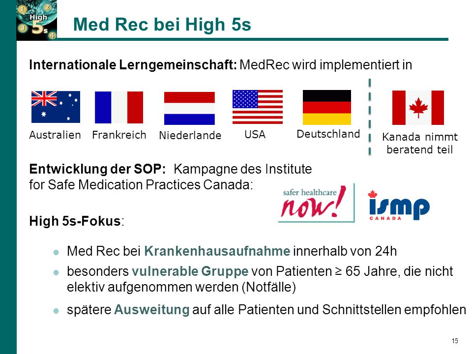 Med Rec bei High 5s Internationale Lerngemeinschaft: MedRec wird implementiert in. Australien. Frankreich.