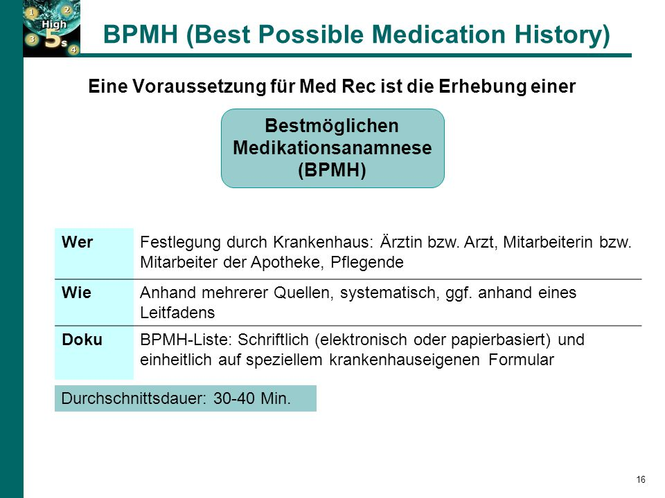 BPMH (Best Possible Medication History)